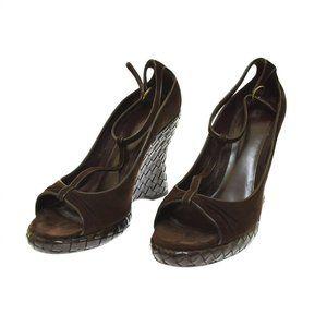 Bottega Veneta Brown Suede Open Toe Wedge Women's Heels Sandal 40 US 10